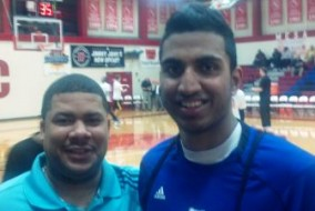 Arizona Preps' senior editor Anthony Ray pictured here with Arizona State University signee, Salt Lake City Junior College 6-foot-7 freshman forward Sai Tummala.  Tummala, a product of Brophy Prep, was among the nation's most sought after recruiting targets after overcoming many obstacles in his college recruitment.